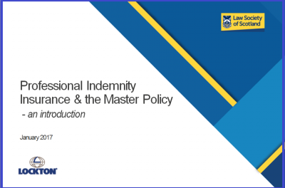 Professional Indemnity Insurance & the Master Policy - an introduction